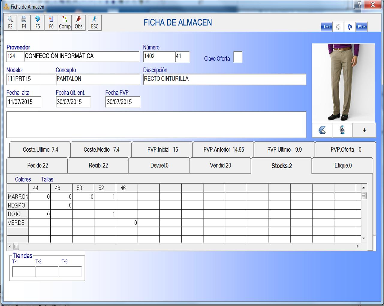 Ficha de producto textil y calzado